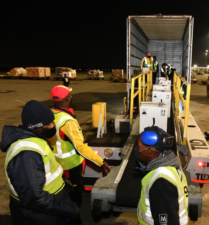 Pfizer vaccines arriving in South Africa. Picture Source: Health Department.